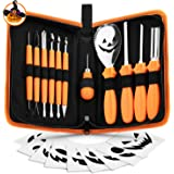 Pumpkin Carving Kit Halloween Jack-O-Lanterns Professional Carving Tools 12 Piece Pumpkin Carving Set Stainless Steel…