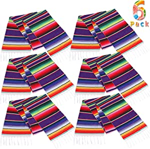 Lansian Mexican Serape Table Runner 14 x 84 Colorful Striped Fringe Cotton for Fiesta Wedding Carnival Cinco De Mayo Party Supplies, 6 Pack