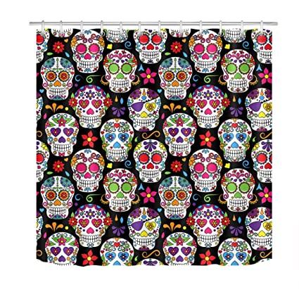 Amazon LB Day Of The Dead Sugar Skulls Shower CurtainAnti