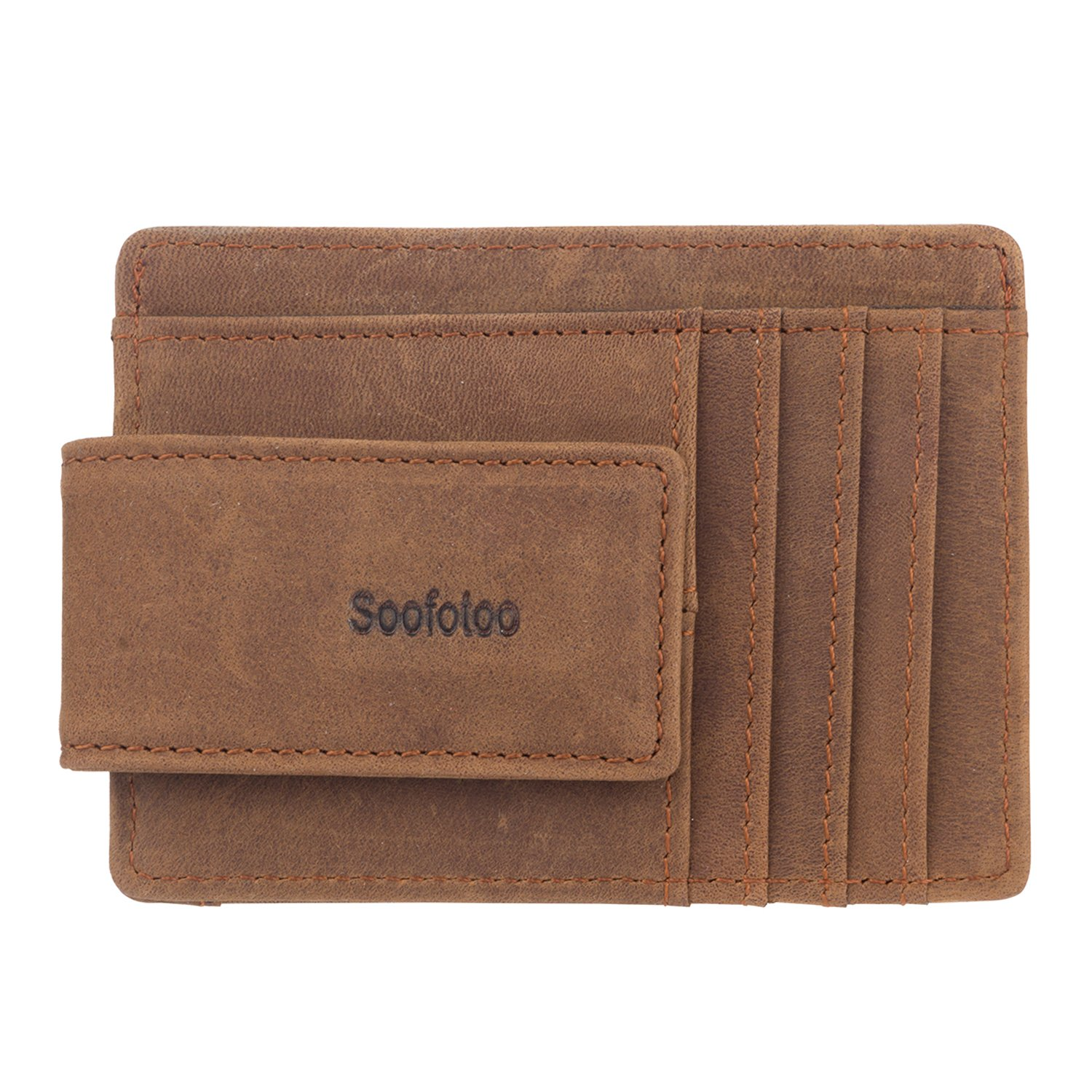 2420389e28fb Soofotoo Genuine Leather Money Clip Powerful Magnetic Money Clips  Minimalist Card Wallet ID Case ID Window with RFID blocking Stop Electronic  ...