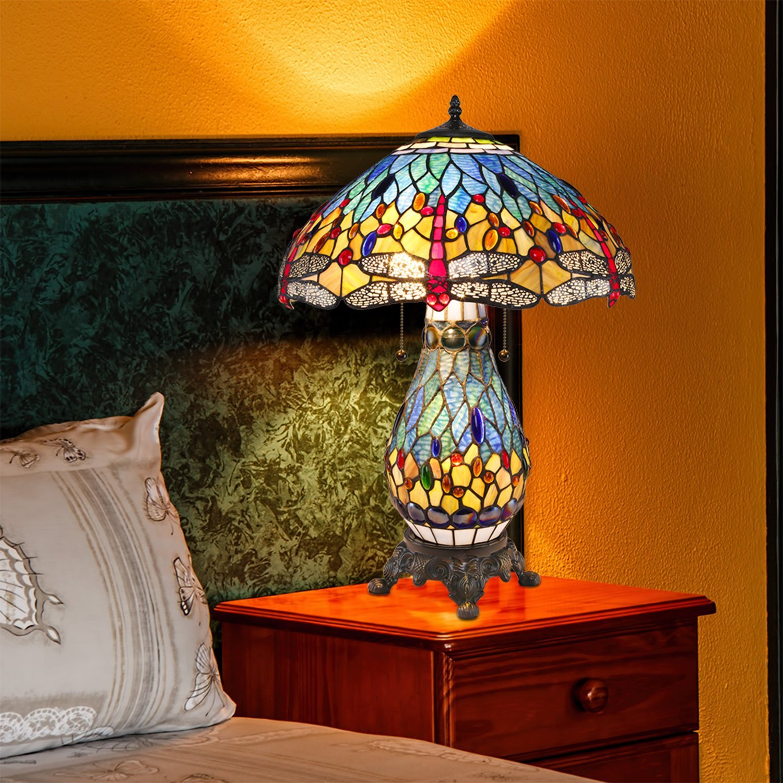 Warehouse Of Tiffany S T18275tgrb Dragonfly Tiffany Style Table Lamp