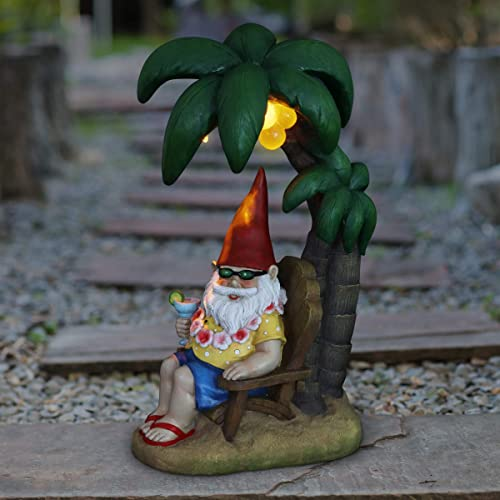 Exhart Solar Good Time Beach Garden Gnome W/Cocktail