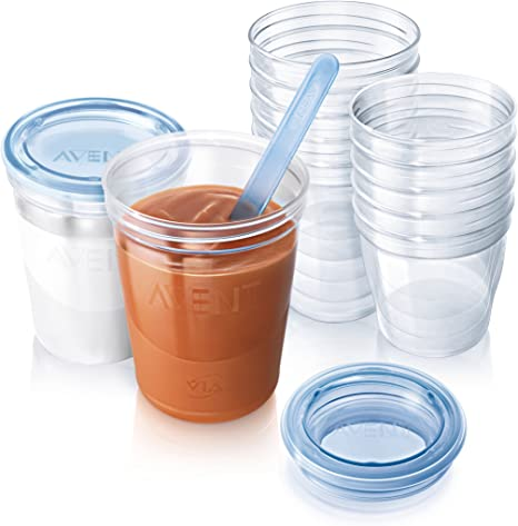 Blue 180//240 ml SCF721//20 Philips Avent Baby Food Storage Cups Pack of 20