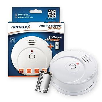 1x Nemaxx SP10-NF Detector de Humo - Pila de Litio Larga duración de 9V - DIN EN 14604: Amazon.es: Bricolaje y herramientas