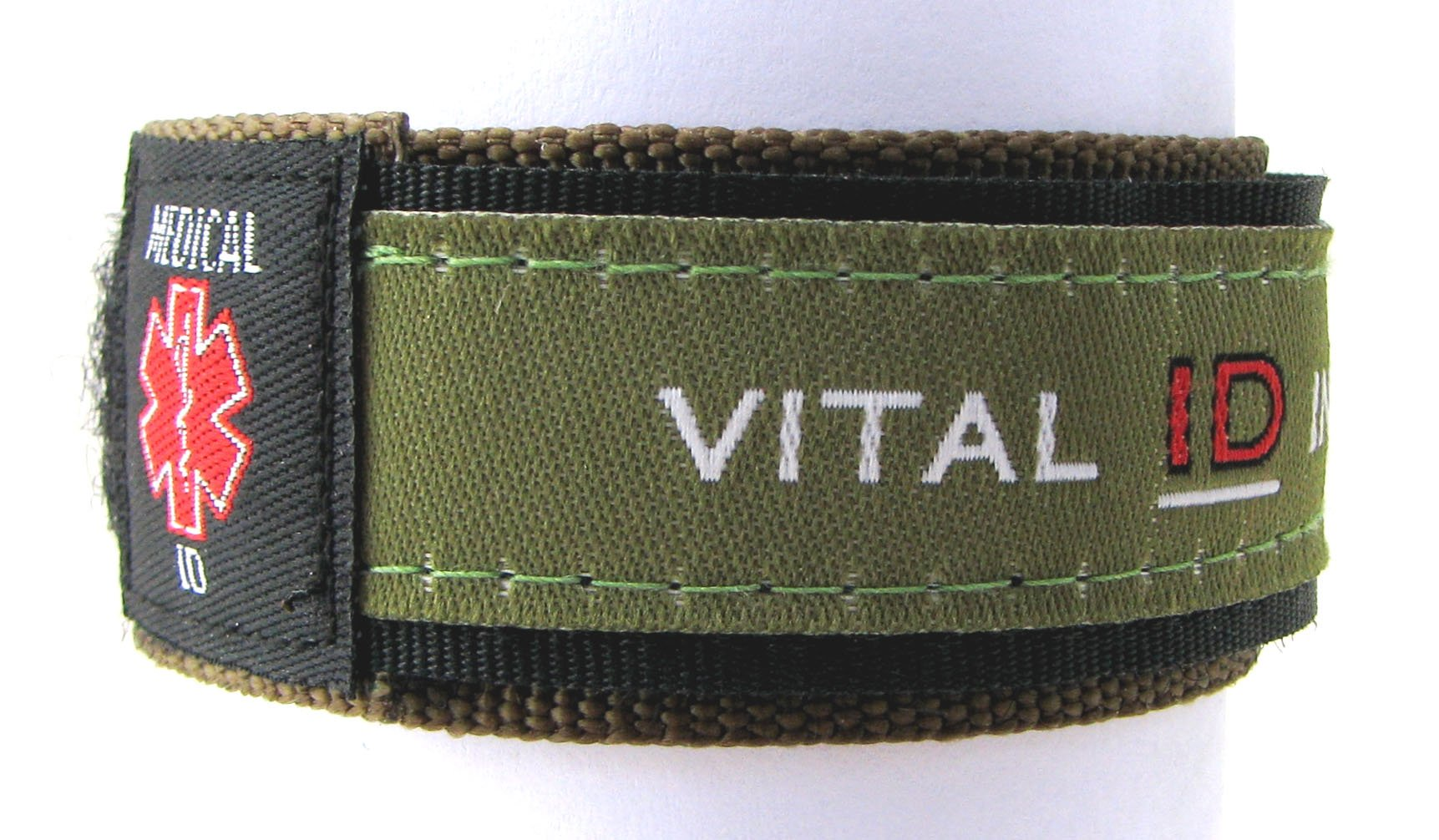 Vital ID Medical ID Wrist Band - Adult (Olive Green)