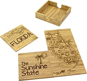 Totally Bamboo Florida State Puzzle 4 Piece Bamboo Coaster Set with Case