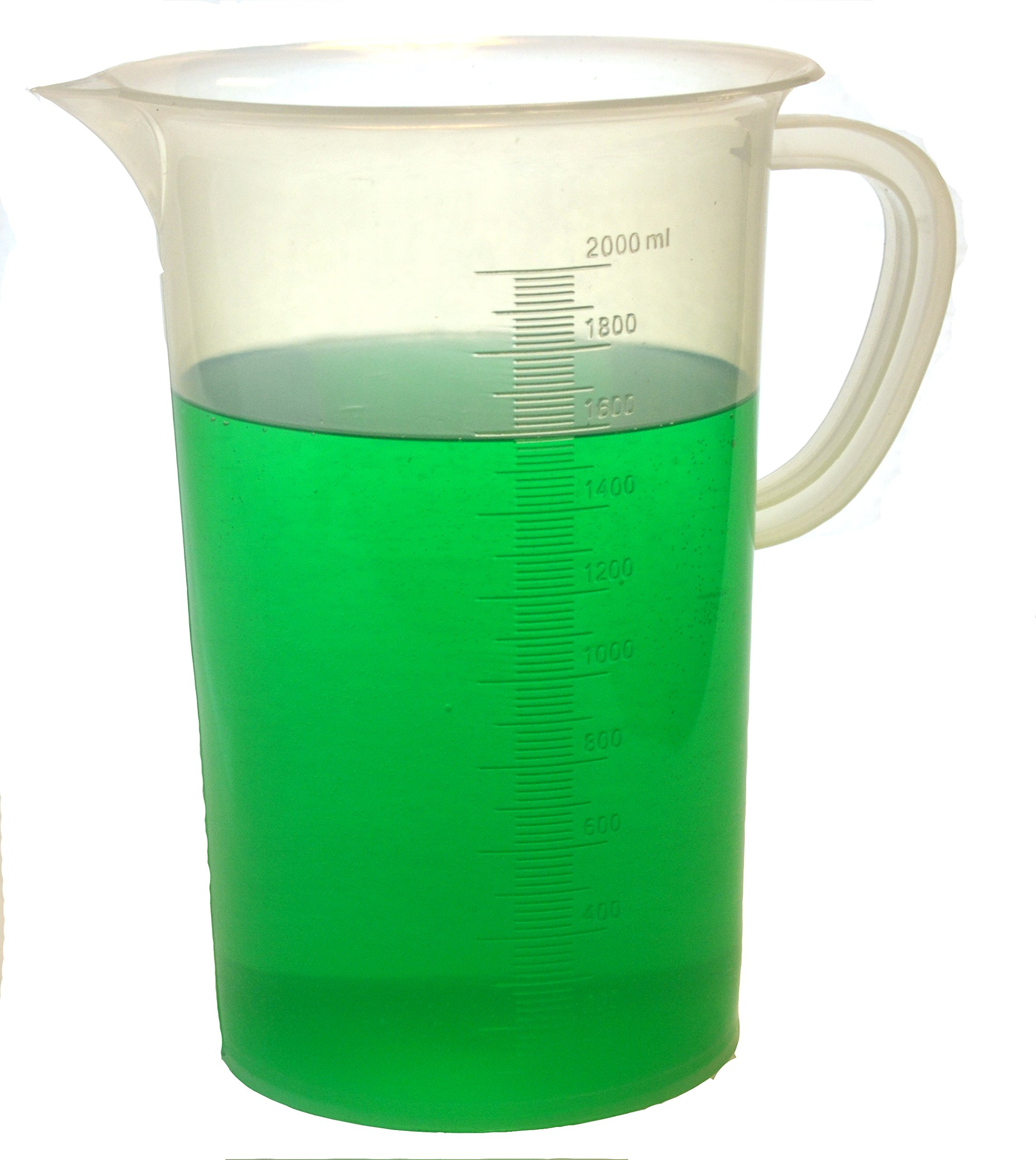 Eisco Labs 2000ml Polypropylene''Pitcher'' - Beaker with Handle and Spout, 20ml Graduations by EISCO
