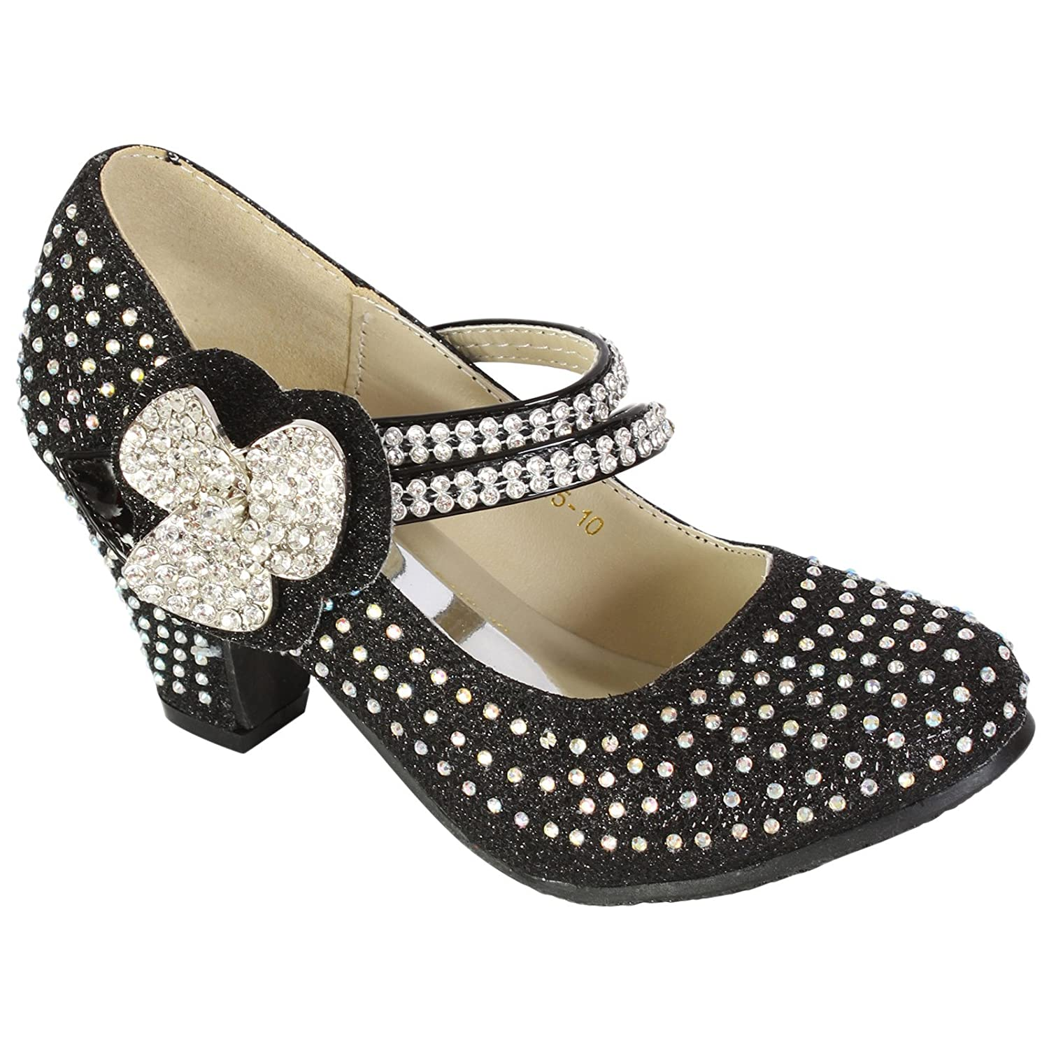 MyShoeStore Girls Diamante Shoe Kids Childrens Wedding Bridesmaid Prom Mary  Jane Style Court Shoes Block Low Heel Touch Fastening Party Sandals Size  9 3: ...