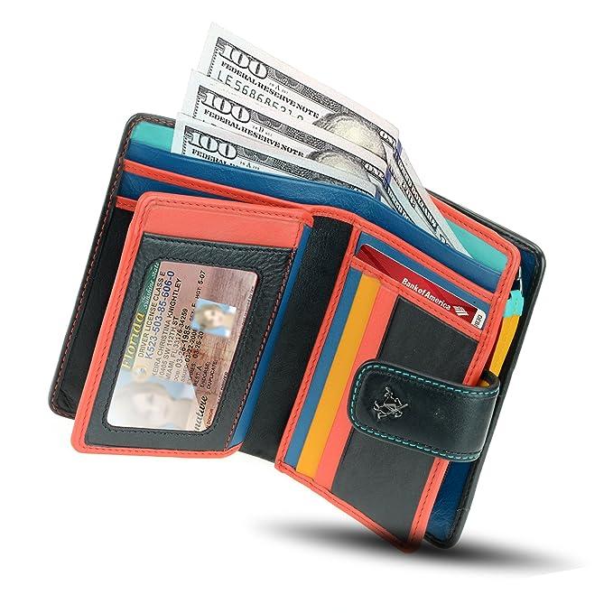 fb81bd260f Visconti CHL71 Women's Secure RFID Blocking Leather Bifold Clutch Wallet  Purse - Black Multi