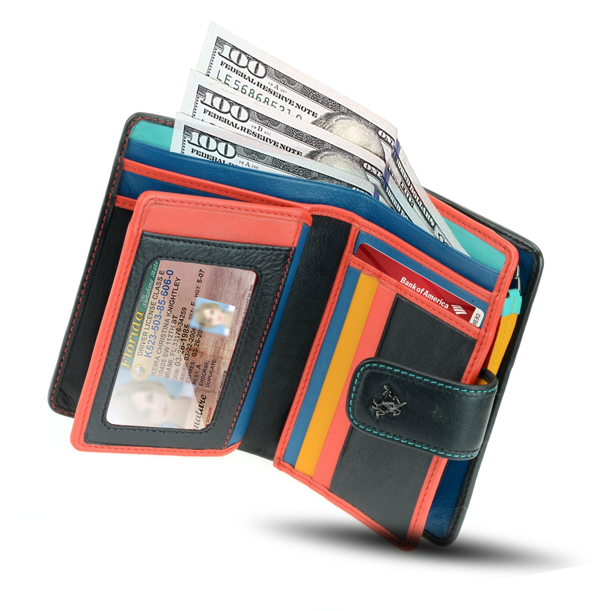 Visconti CHL71 Women's Secure RFID Blocking Leather Bifold Clutch Wallet Purse