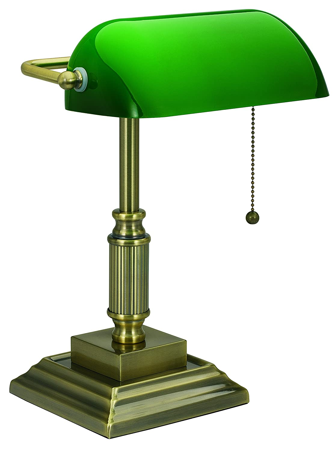 V-LIGHT Traditional Style CFL Banker's Desk Lamp with Green Glass Shade (VS688029AB)