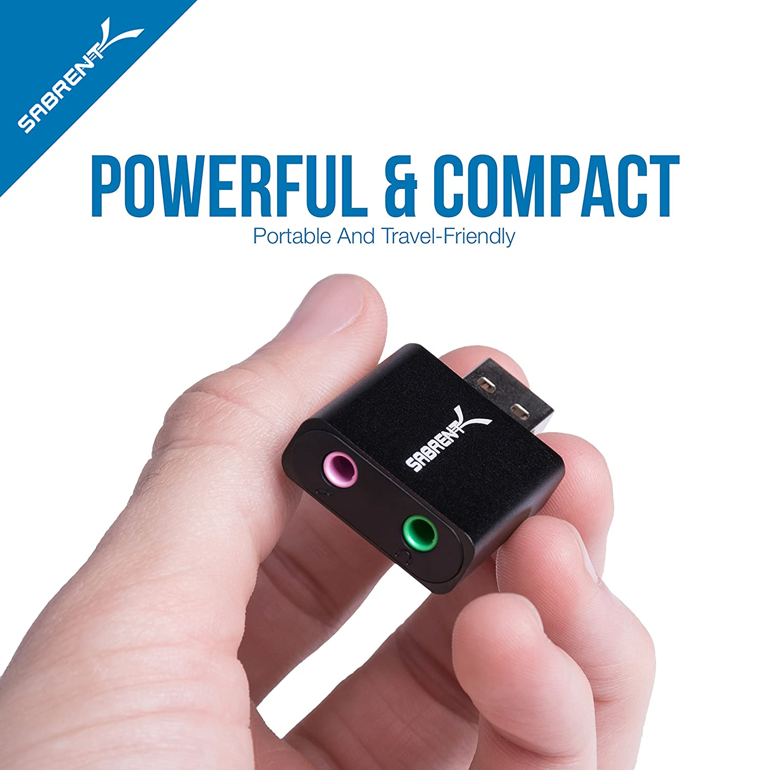 Sabrent Aluminum USB External Stereo Sound Adapter for Windows and Mac Plug and Play No Drivers Needed. Silver AU-EMAC