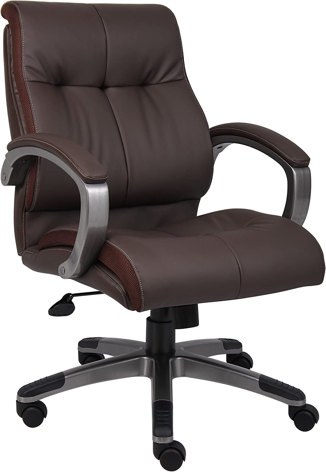 Boss Office Products Double Plush Mid Back Executive Chair in Brown