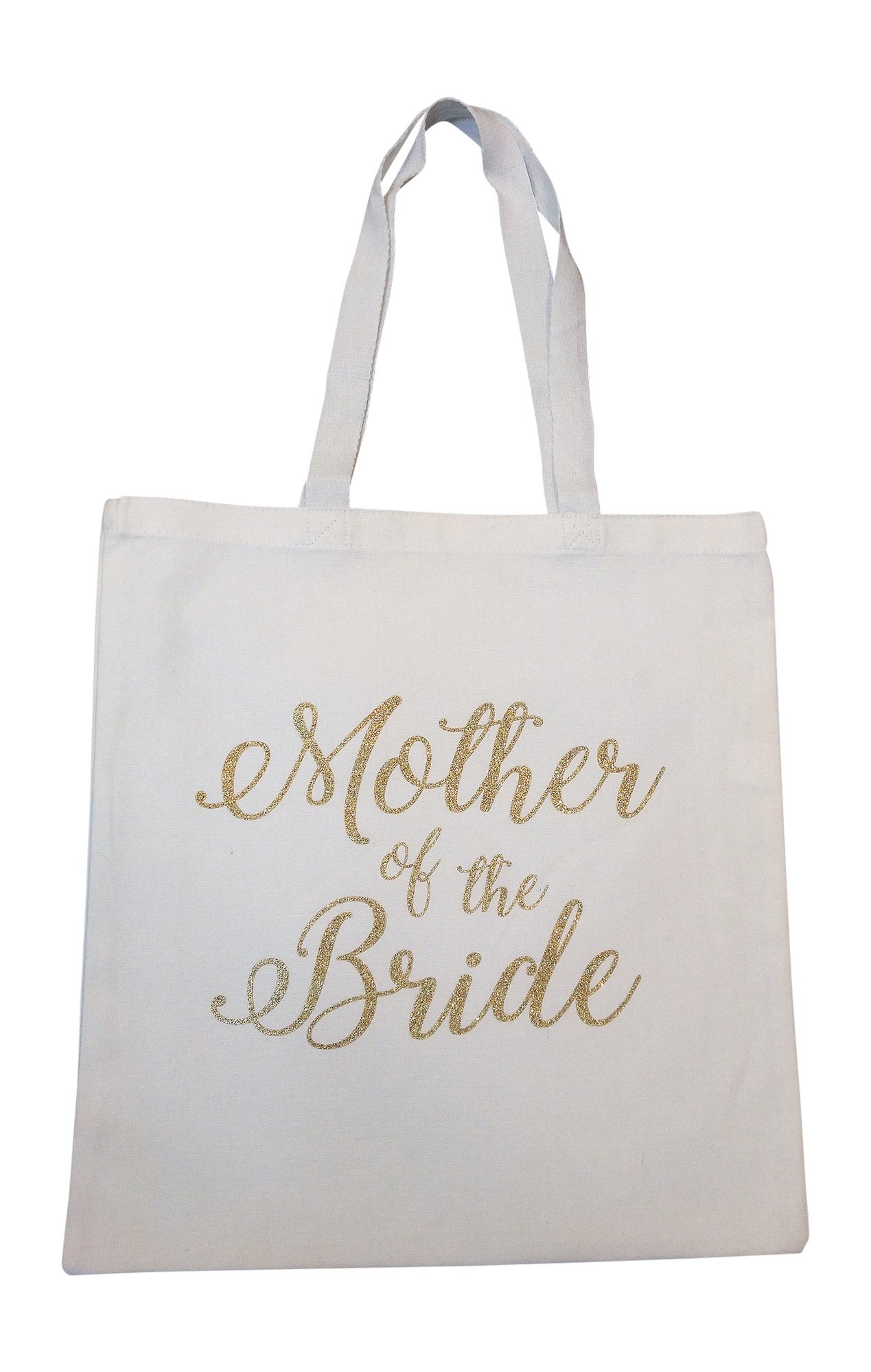 The Spoiled Office Wedding Party Bridal Tote Bag with Gold Lettering - Heavyweight, Large Canvas 15'' x 16'' (Mother of the Bride in White)