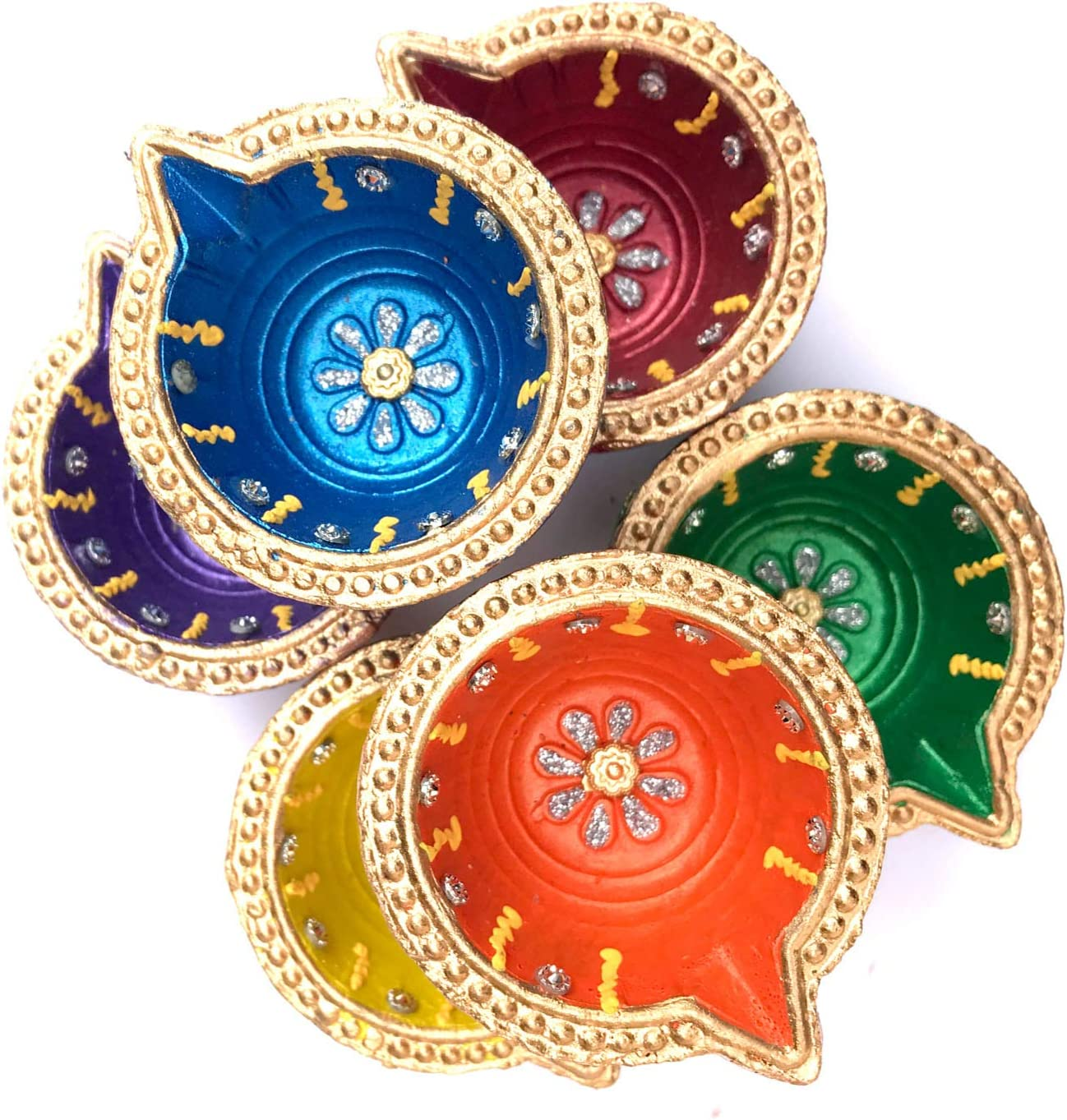 MultiColor YADNESH Set Of Six Deepawali Special Clay Diya home decor and festivities Carved beautifully out of clay for this festival Diyas are an essential part of Diwali decorative Earthen Diya