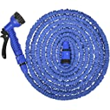 Tubo da giardino, più forte, tubo del tubo dell'acqua, tubo flessibile, per tubi, tubo da giardino espandibile con pistola a spruzzo, a 8 Vie, antiruggine, tubo per annaffiare, gancio e dalle, tubo flessibile, valvola, blu, 15 m (50 ft)