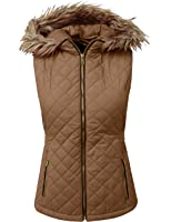 DOUBLDO Womens Lightweight Quilted Puffer Padded Vest Jacket with Hood