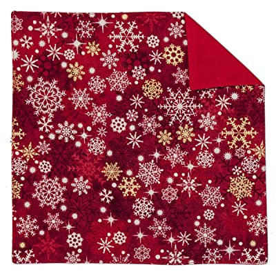 Red Pocket Square White & Gold Snowflake Design for Baby to Men