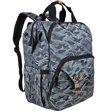 Mochila con bolsa para cambiar pañales para bebés/correas de cochecito/bolsillos con aislamiento