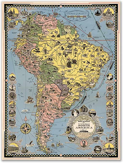 Antiguos Maps - South America Map by Moore-McCormack Cruise Lines Circa  1942 - Measures 24 in x 32 in (610 mm x 813 mm)