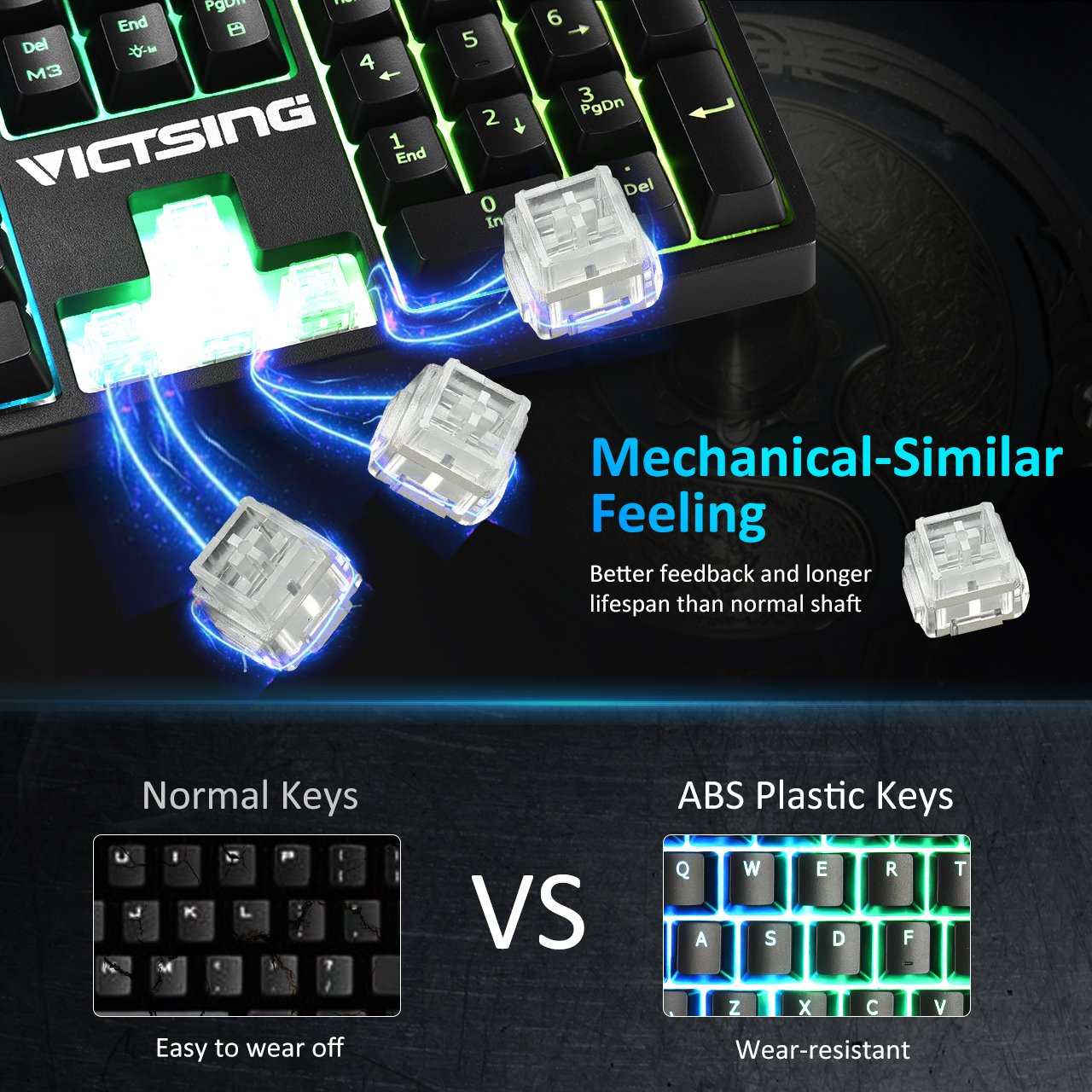 Gaming Keyboard, (Mechanical Feeling, 7 Color RGB Backlit, 12 Multimedia  Keys) VicTsing® Durable Wired LED Backlight Keyboard Waterproof with