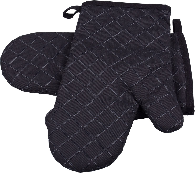 Schwarz ZEWOO 1 Paar Ofenhandschuhe Baumwolle Anti-Rutsch K/üche Backofen Handschuhe Hitzebest/ändig Topfhandschuhe Topflappen F/ür Kochen Backen Barbecue