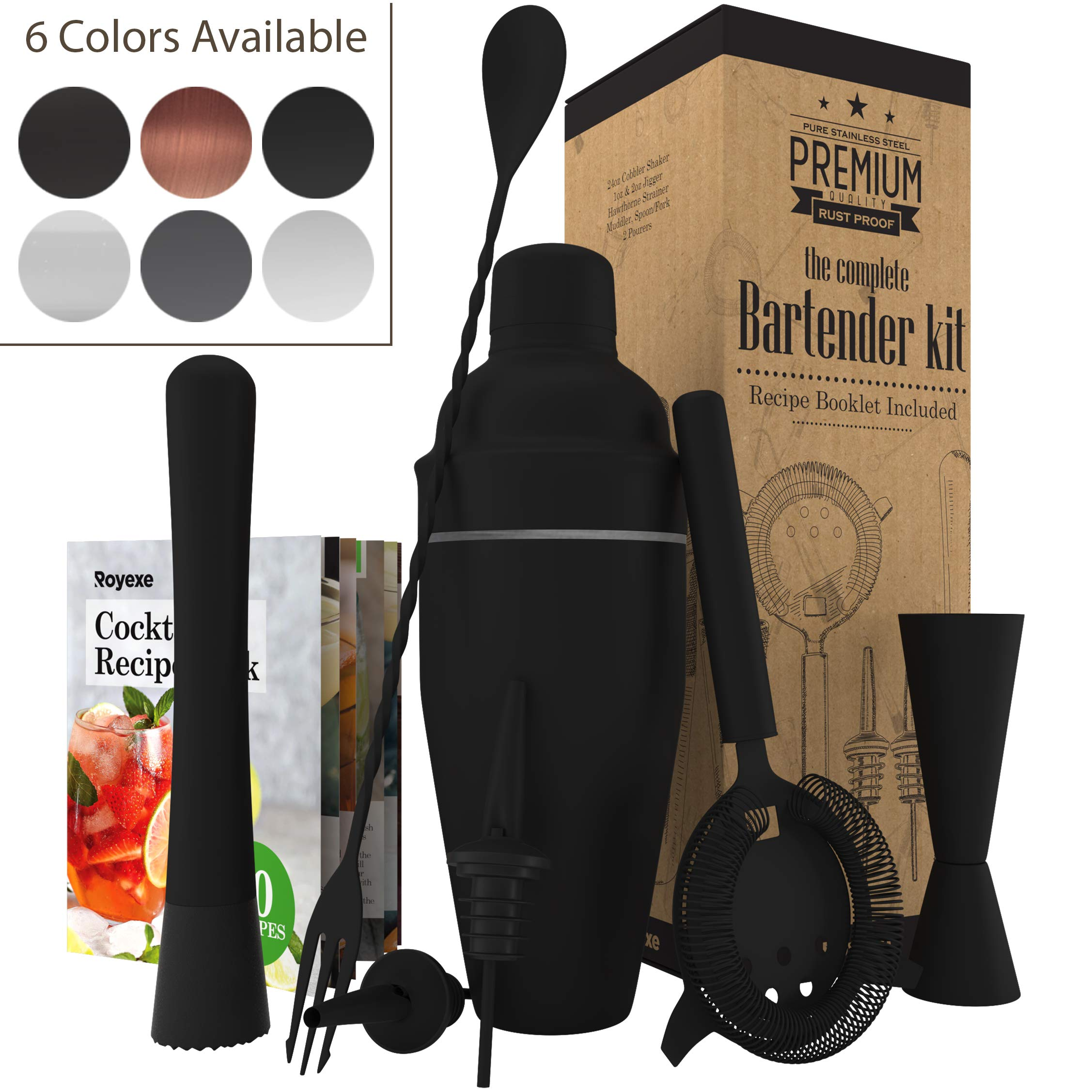 All-inclusive Bar Set | Professional Home Bartender Cocktail Shaker Set | Includes a Recipe Book & All Necessary Bar Tools and Accessories | Impressive Gift for Men! (Matte Black)
