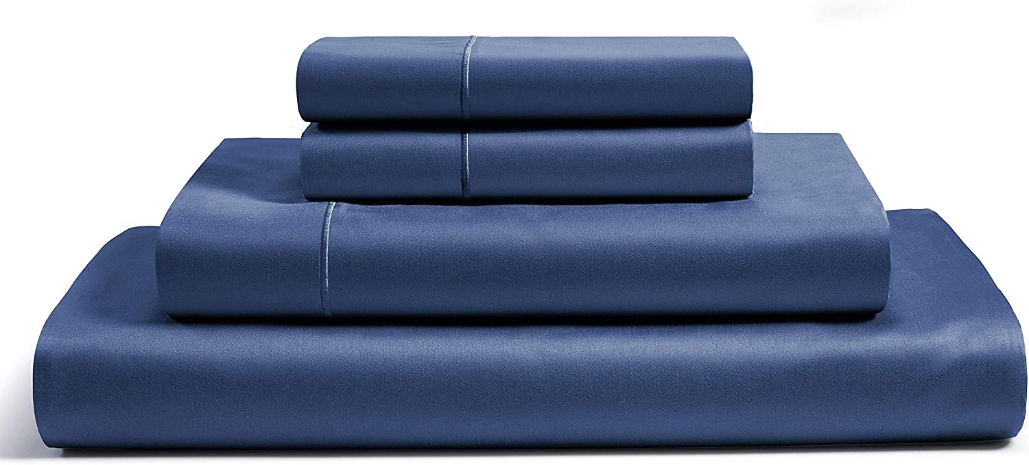 "CHATEAU HOME COLLECTION 100% Egyptian Cotton Sheets Full Size, 800 Thread Count Dark Denim 4 Piece Sheet Set Solid Sateen Weave 16"" Deep Pocket (Fits Upto 18"" Mattress) Long Staple Cotton Bedsheet Set"
