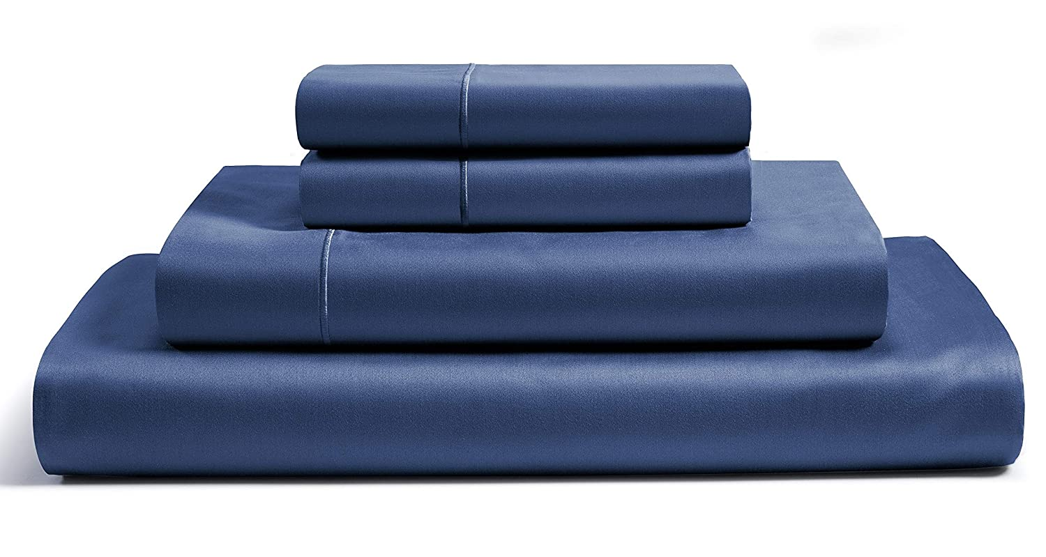 CHATEAU HOME COLLECTION 800-Thread-Count Egyptian Cotton Deep Pocket Sateen Weave Sheet Set, Ultimate Gift; Holiday Sale (Queen, Dark Denim)