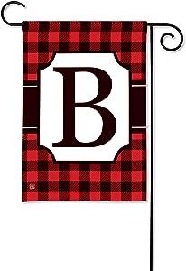 BreezeArt Studio M Buffalo Check Monogram B Garden Flag - Premium Quality, 12.5 x 18 Inches