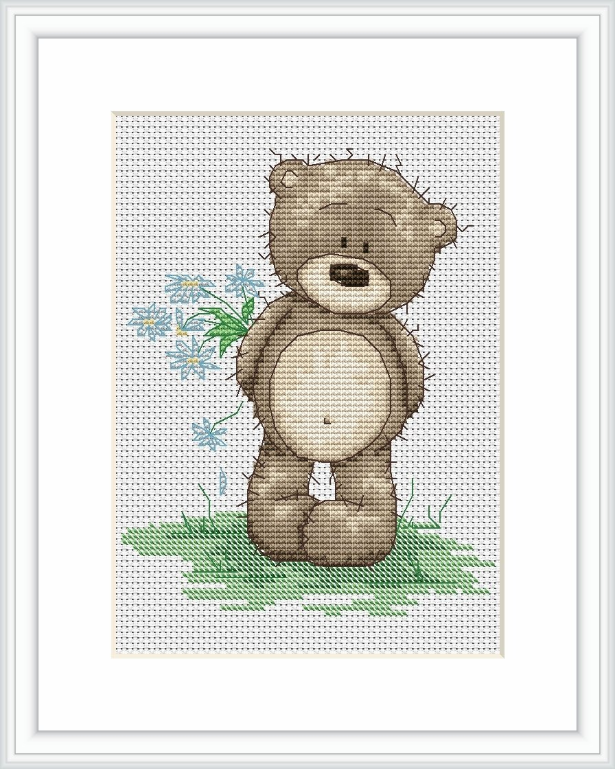 Luca S Bruno - Patrón de punto de cruz, diseño de oso Bruno con ramo ...