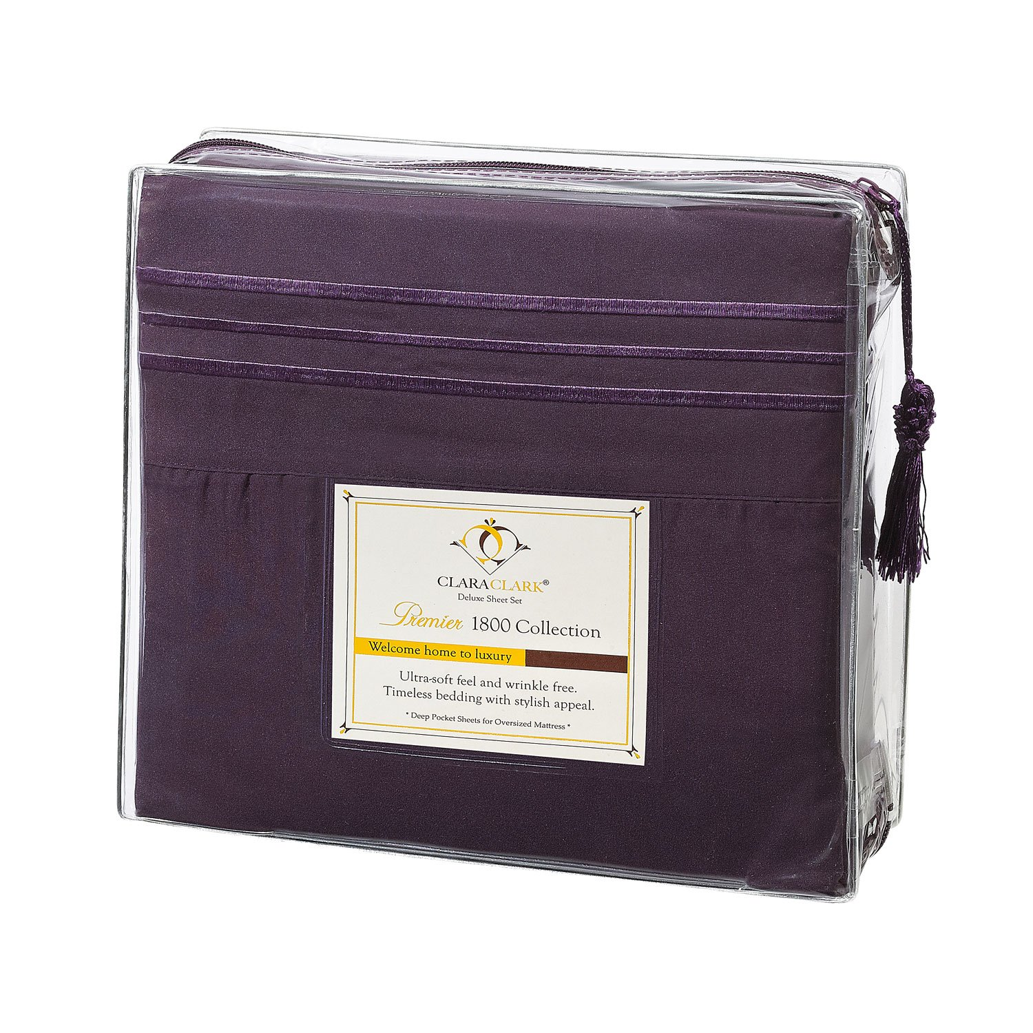 Clara Clark Premier 1800 Collection 4pc Bed Sheet Set - Queen Size, Purple  Eggplant,: Amazon.ca: Home & Kitchen
