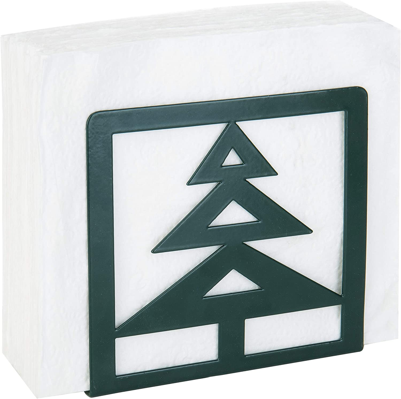 MyGift Reindeer /& Christmas Tree Black Metal Napkin Holder