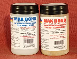 MAX Bond THIXOTROPIC Industrial Grade Non Flowing Epoxy - 1/2 Gallon Kit - Structural Adhesive - High Strength Bonding - Marine Grade - FDA Compliant Adhesive - Waterproof - Vertical Application