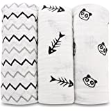 Muslin Baby Swaddle Blanket 3 Pack-Truedays 47''X 47'' Large Muslin Swaddle Best Soft Unisex for Boys or Girls Perfect for Nursery Sets-3 Beautiful Design