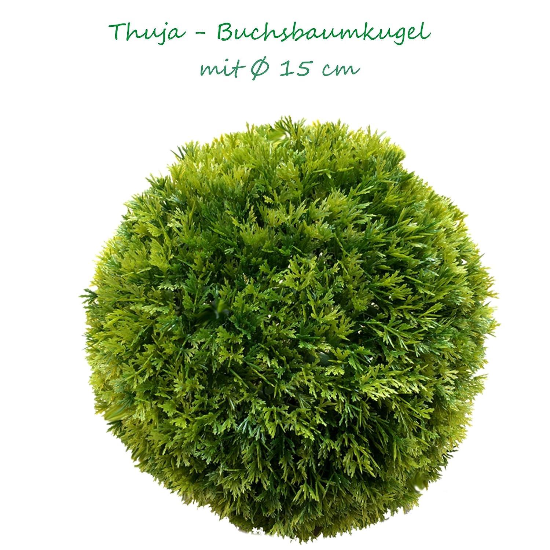 15 cm Ø künstliche Thuja - Buchsbaumkugel, sehr natürlich wirkend sehr natürlich wirkend
