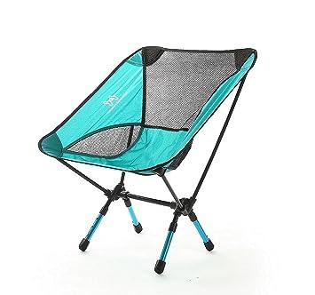 Moon Lence Sillas plegables portátiles ultraligeros de Altas Prestaciones para sillas de camping playa, altura ajustable (turquesa)