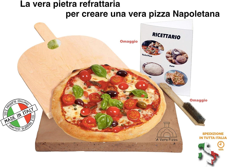 Realizzare la Vera Pizza Italiana 35x35x2,5cm LA Vera Pietra Refrattaria per Questo /è pi/ù Cara per Pizza da Forno Comprensiva di Pala per Pizza e Ricettario