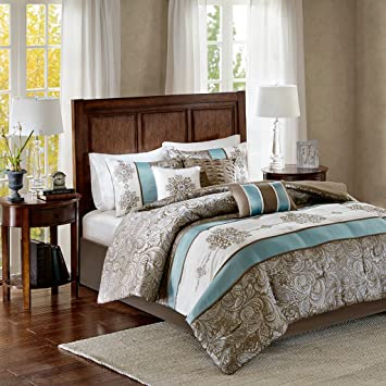 Madison Park Caroline Cal King Size Bed Comforter Set Bed in A Bag - Blue,  Taupe, Jacquard Paisley – 7 Pieces Bedding Sets – Faux Silk Bedroom ...