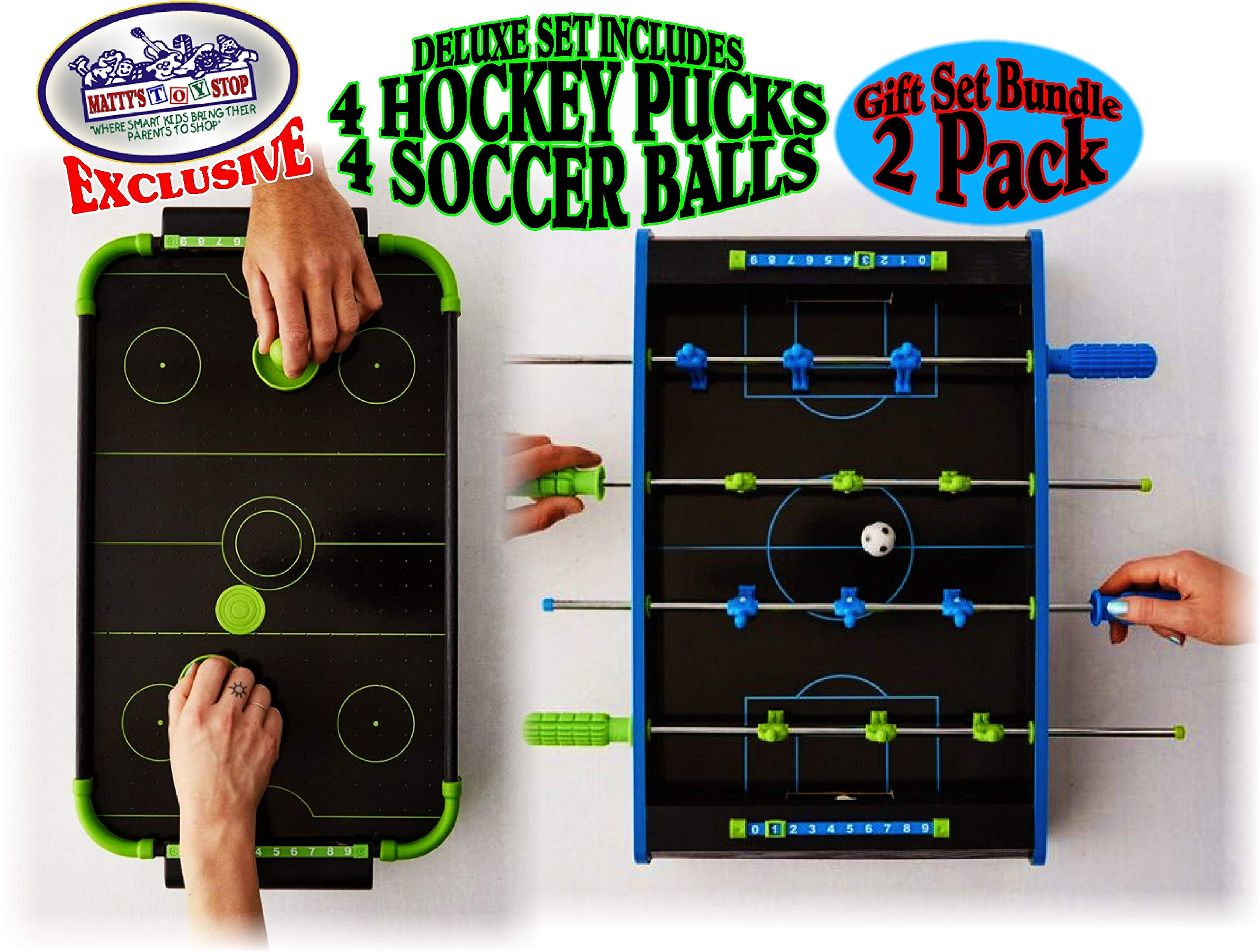 Matty's Toy Stop Deluxe Wooden Mini Tabletop NEON Air Hockey (Extra Pucks) & NEON Foosball (Soccer) (Extra Balls) Games Gift Set Bundle - 2 Pack