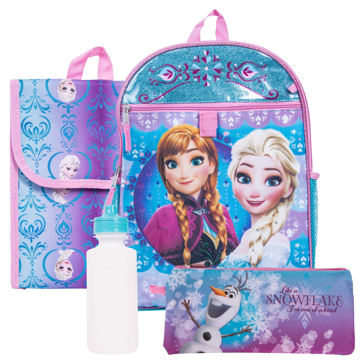 Disney Frozen 16 Backpack Lunch Bag Pencil Case Water Bottle Carabiner Set Fast Forward