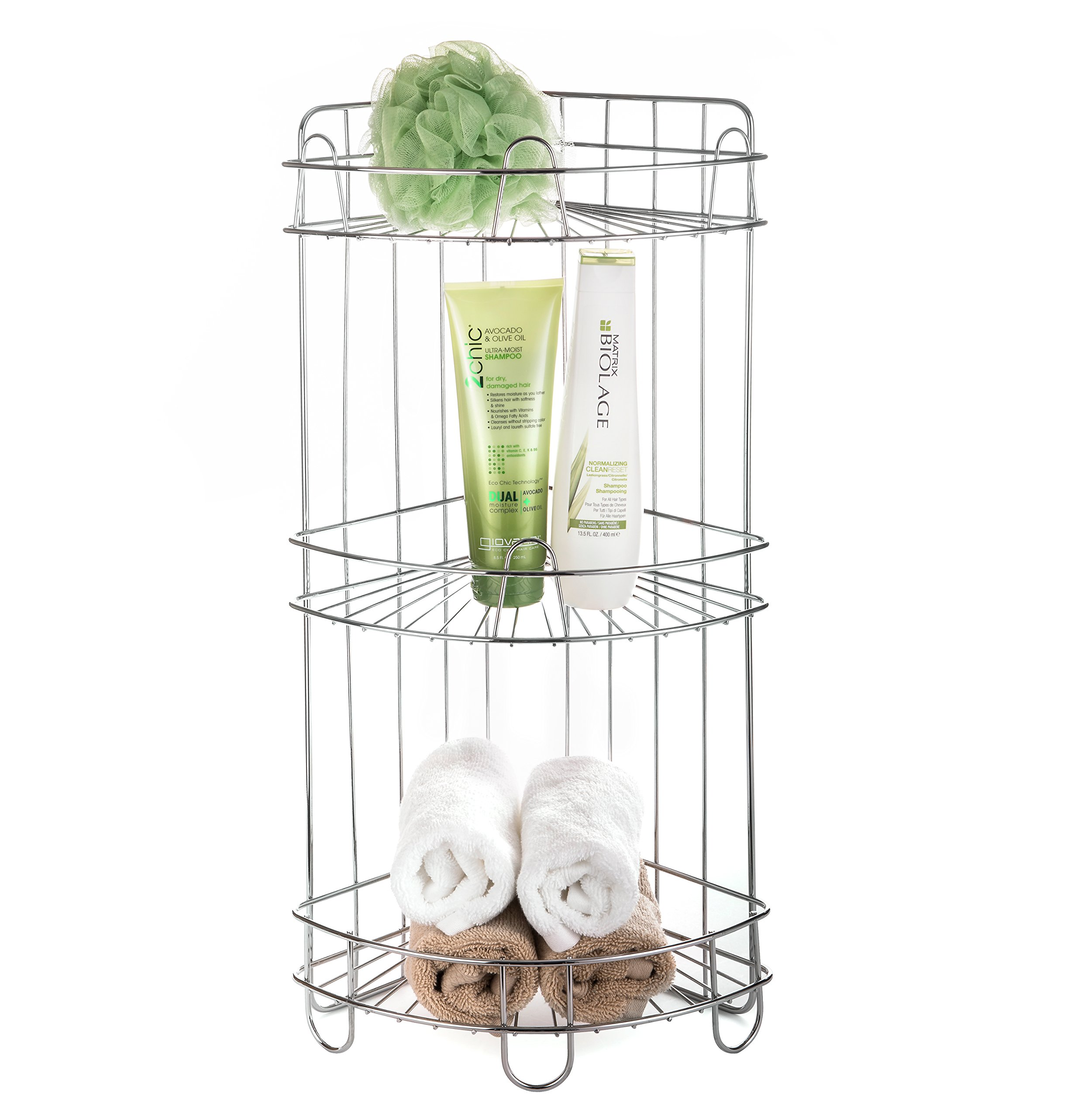 AMG and Enchante Accessories Free Standing Bathroom Spa Tower Storage Corner Caddy, FC100006 CHR, Chome