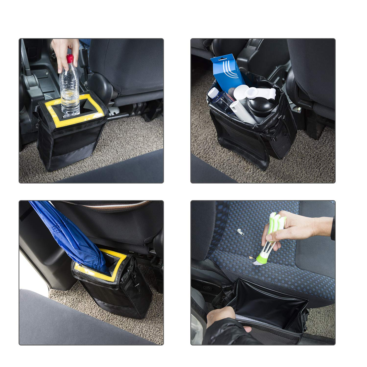 Sumworld Car Trash Can Hanging Automobile Garbage Bag with Lid and Storage Pockets Automotive Litter Container for Vehicle Headrest Gearshift Center Console