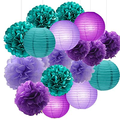 Sogorge Mermaid Party Decorations /Under The Sea Party 18pcs Teal Lavender Purple 10inch 8inch Tissue Paper Pom Pom Paper Lanterns for Birthday Decor Baby Shower Decorations Frozen Party Supplies: Toys & Games
