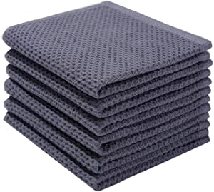 100% Cotton Kitchen Dish Cloths, 6 Pack Waffle Weave Dish Rags Ultra Soft Absorbent Quick Drying Dish Towels, 12 X 12Inch, Dark Gray