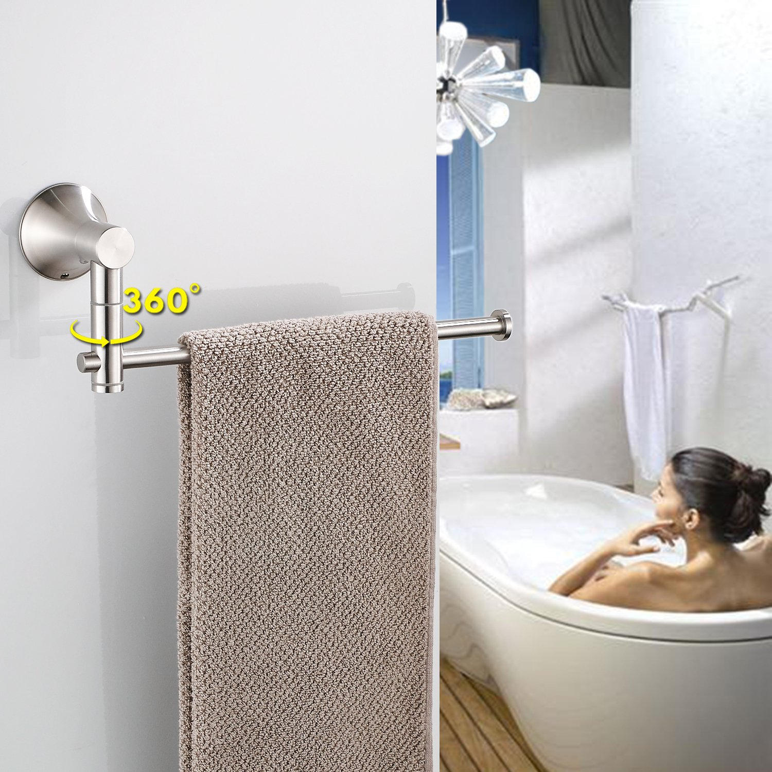 KOOLIFT Bathroom Paper Towel Holder for Bathroom Hardware Shower Towel Rack Rail Wall Mount Modern Open Long Arm Design Stainless Steel Polished Brushed by