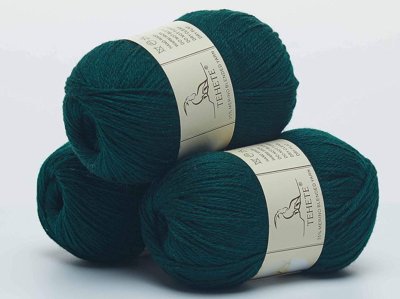 TEHETE Ovillo de lana ganchillo y tejido-Beige diy Hilados lana merino Hilo para manta,su/éter calcet/ín bufanda 3 Bolas x 50g