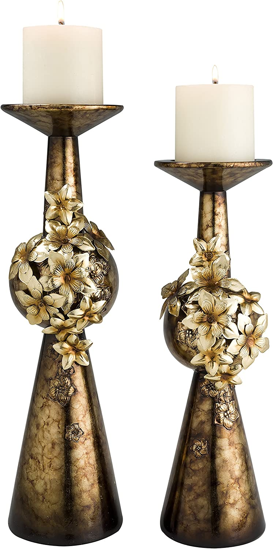 "OK Lighting Virgo Orchid Golden Candleholder Set, 16.0"""