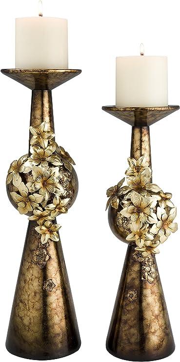 Set of 2 Sapphire Rose OK Lighting Candleholder OK-4248C
