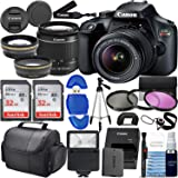 Canon Rebel T100 w/Canon EF-S 18-55mm F/3.5-5.6 III Zoom Lens & Professional Accessory Bundle W/ 2X 32GB Memory Cards + Case